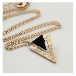 Dainty black and gold triangle necklace